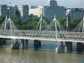 View of an intricate bridge as seen from the Eye of London